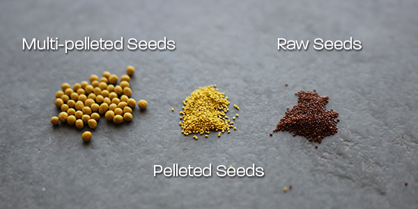 Raw, Pelleted, and Multi-pelleted seeds