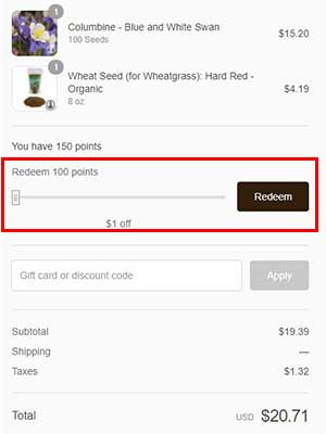 how to check out with your planting points