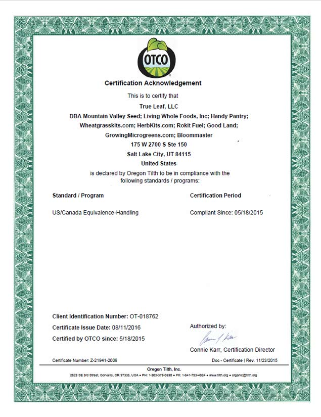 Organic Certification page 2 from Oregon Tilth