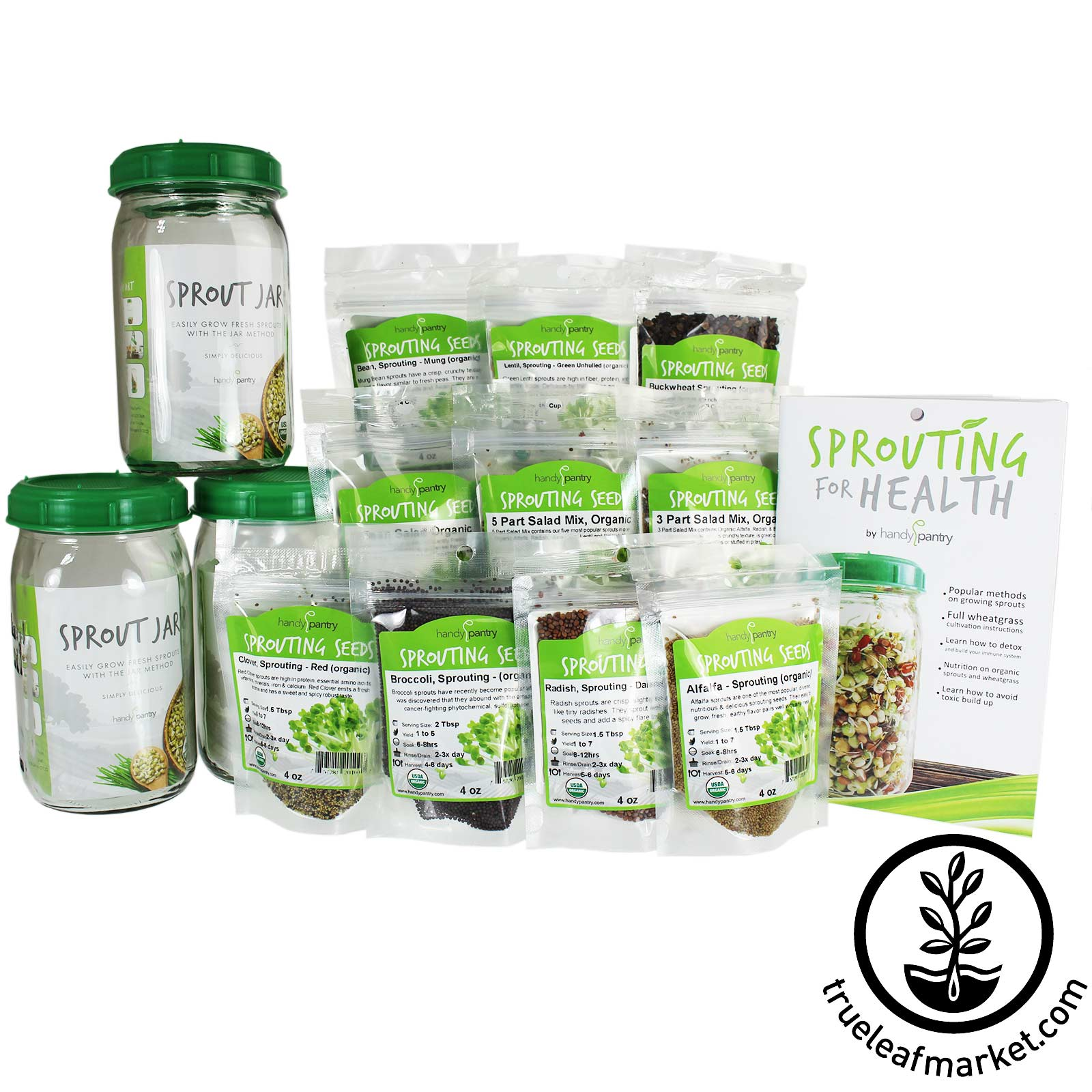 3 Jar Seed Sprouting Jar Kit