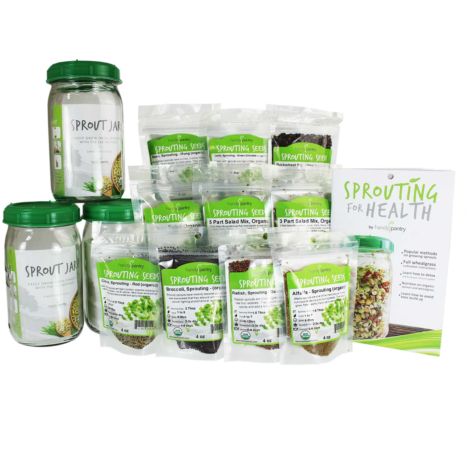 Great starter kit for those who prefer growing sprouts using the jar method. Three quart jars with sprout strainer lids, sprout booklet and a great 2.5 lb selection of sprouting seeds and  sprout salad mixes. Certified Organic.