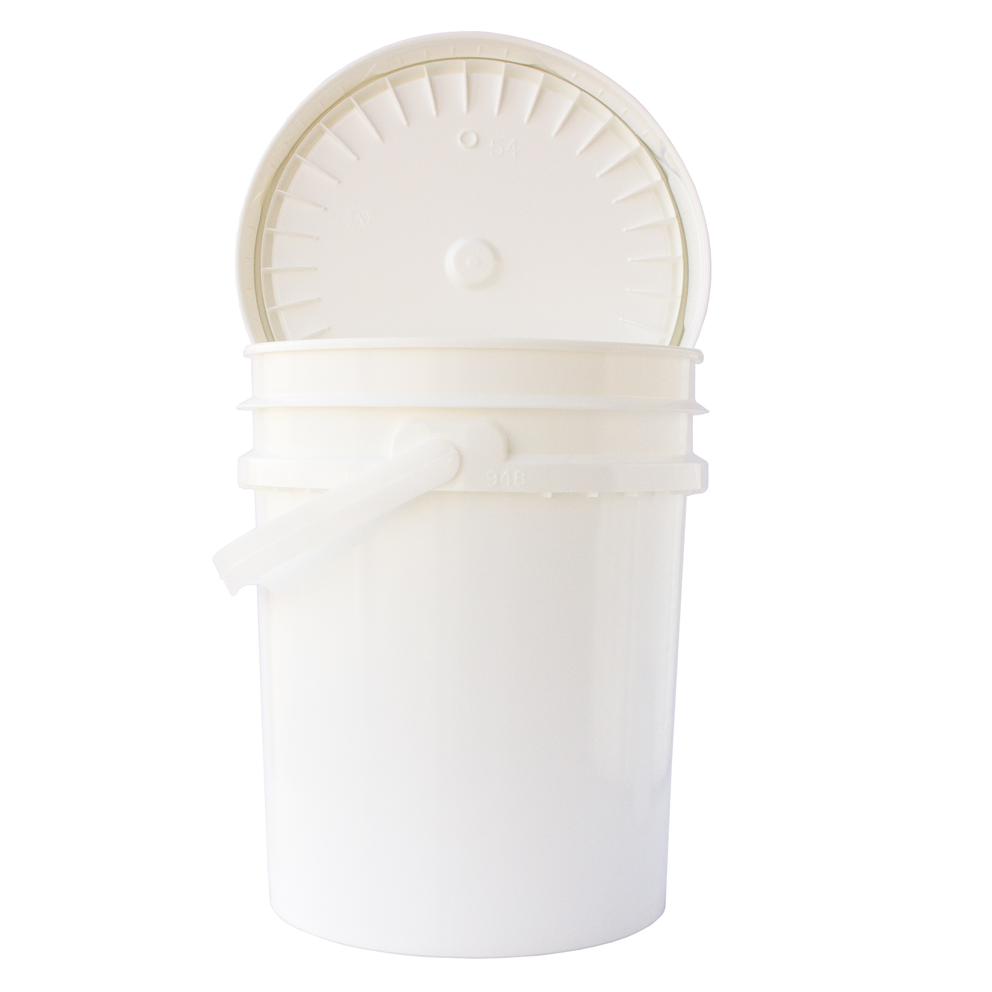 5 Gallon White Plastic Bucket -Food Grade Pail & Lid-Storage Container