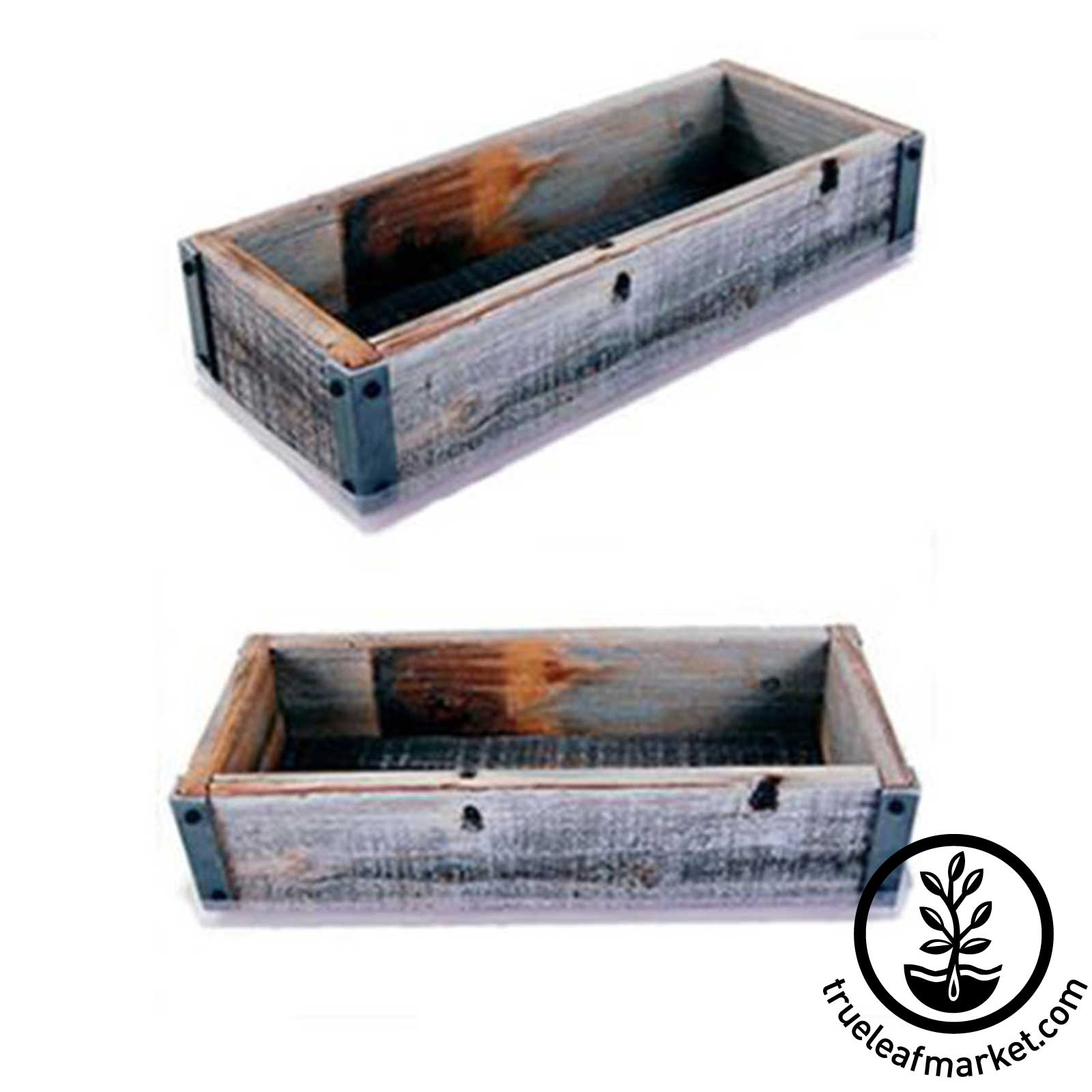 Barn Wood Planter Box with Drip Tray - 2 Views