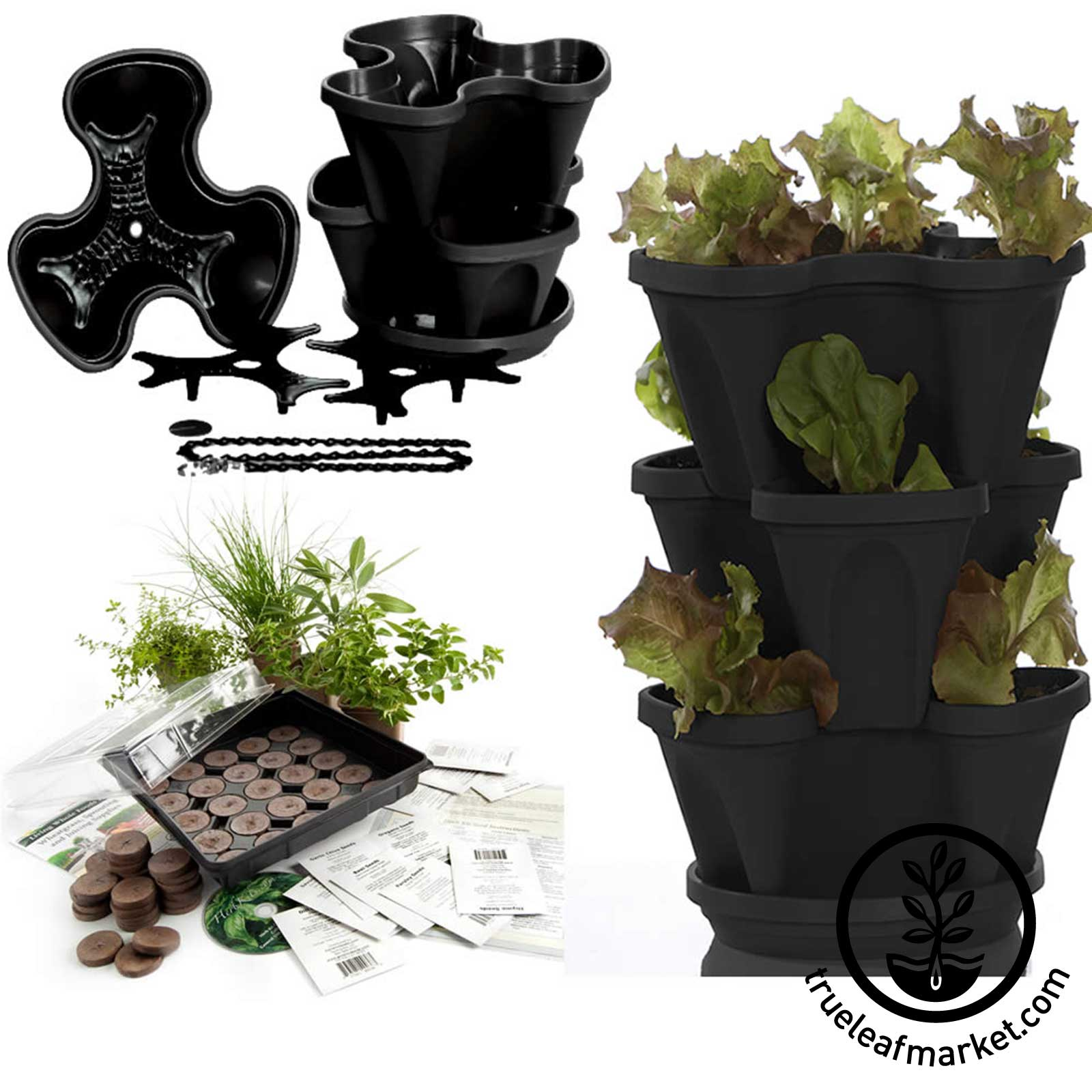 Black Stacker with Culinary Herb Kit