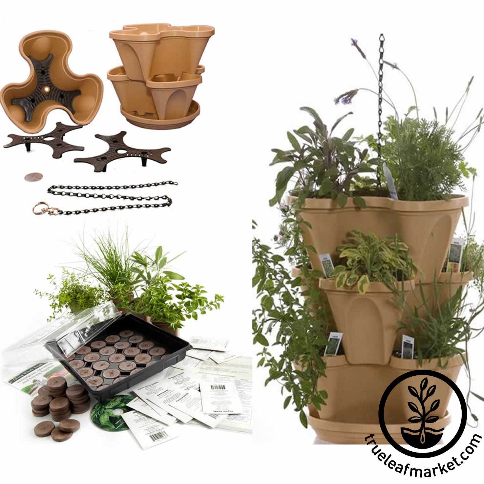 Tuscany Garden Stacker with Herb Tea Kit
