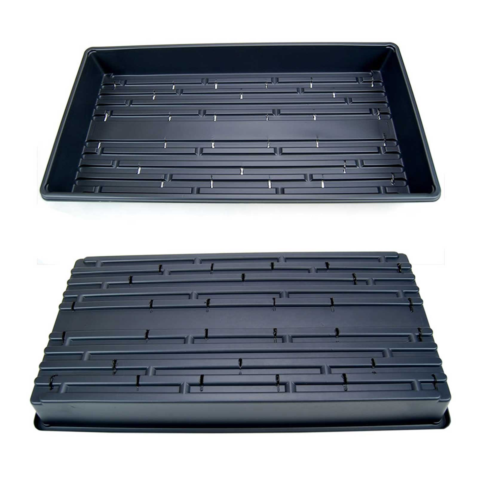 Image of 100 Black Plant Greenhouse Trays - Garden, Wheatgrass, Microgreens