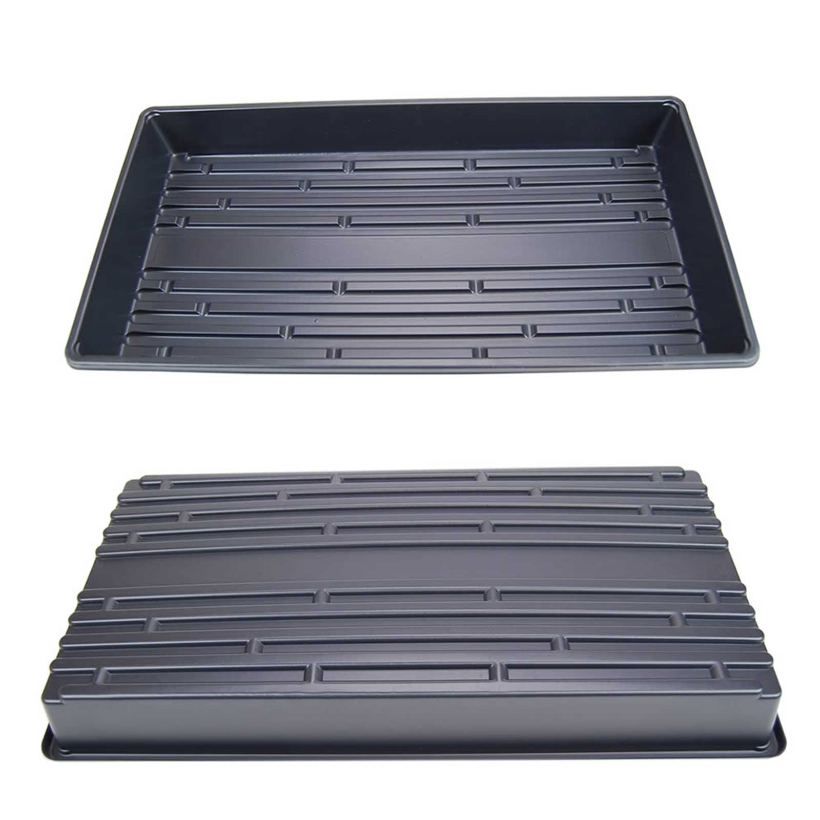 Large growing trays with NO drain holes. Perfect as a drip tray for trays with holes, or a growing tray for hydroponic applications. Approx. 20x10. Standard nursery plant growing tray sizing. Re-usable.