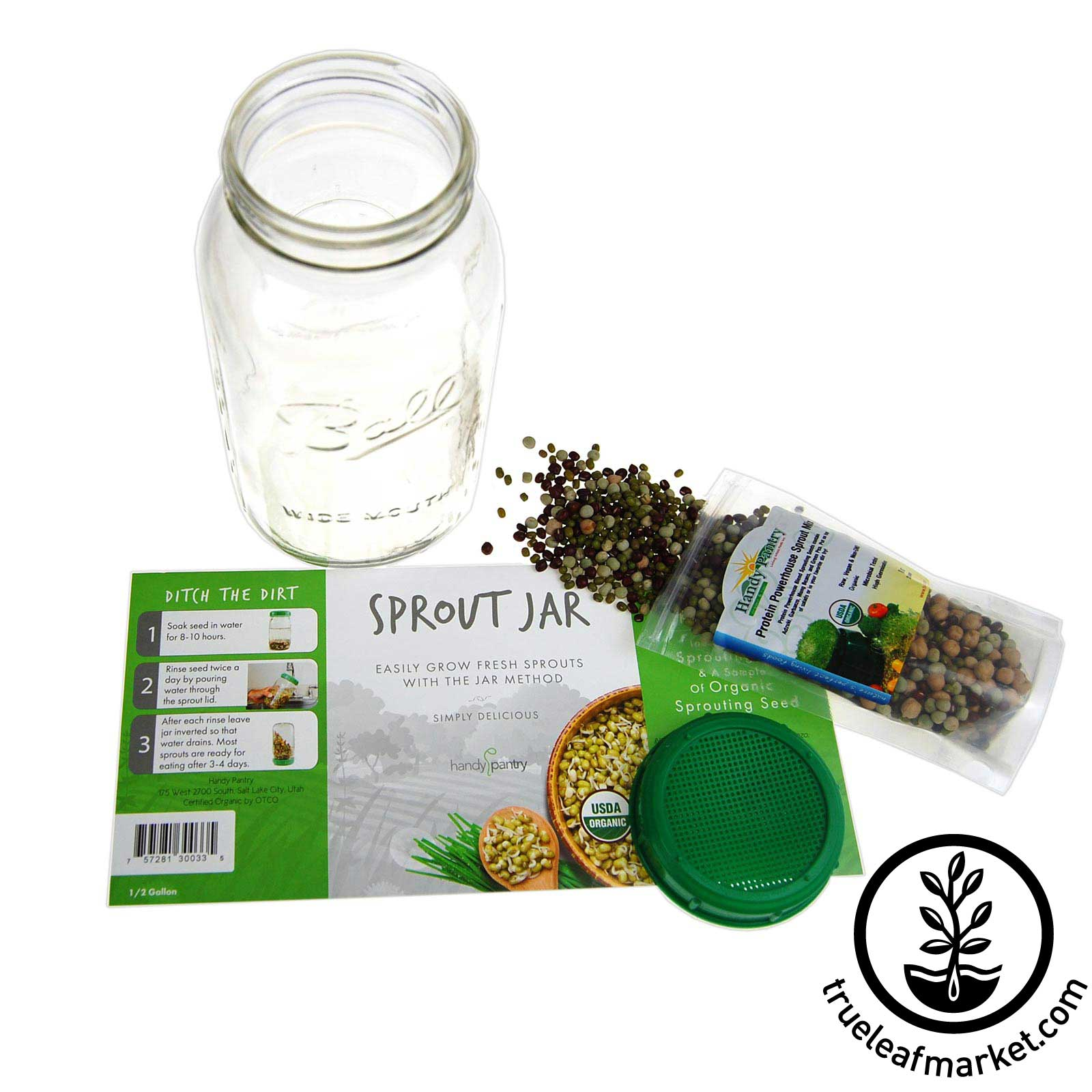 Includes half gallon jar, sprouting lid, seed, and instructions