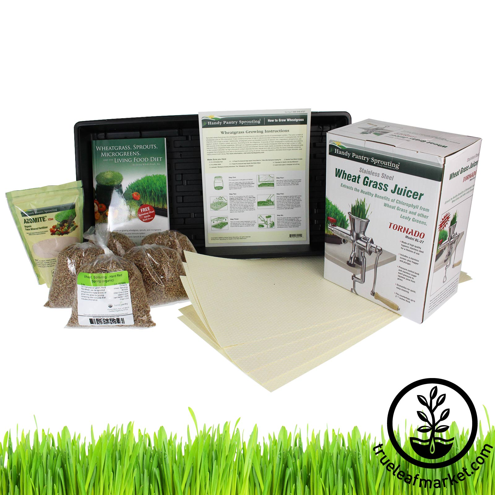 Hydroponic Wheatgrass Kit + Tornado Juicer wheat grass, wheatgrass, wheatgrass juicers, wheat grass juicers, back to basics juicer, manual juicer, wheat seed, ann wigmore, wheatgrass kit, grow, growing, juicing, wheat grass juice, wheat grass seed, hydroponic, cocotec, tornado juicer