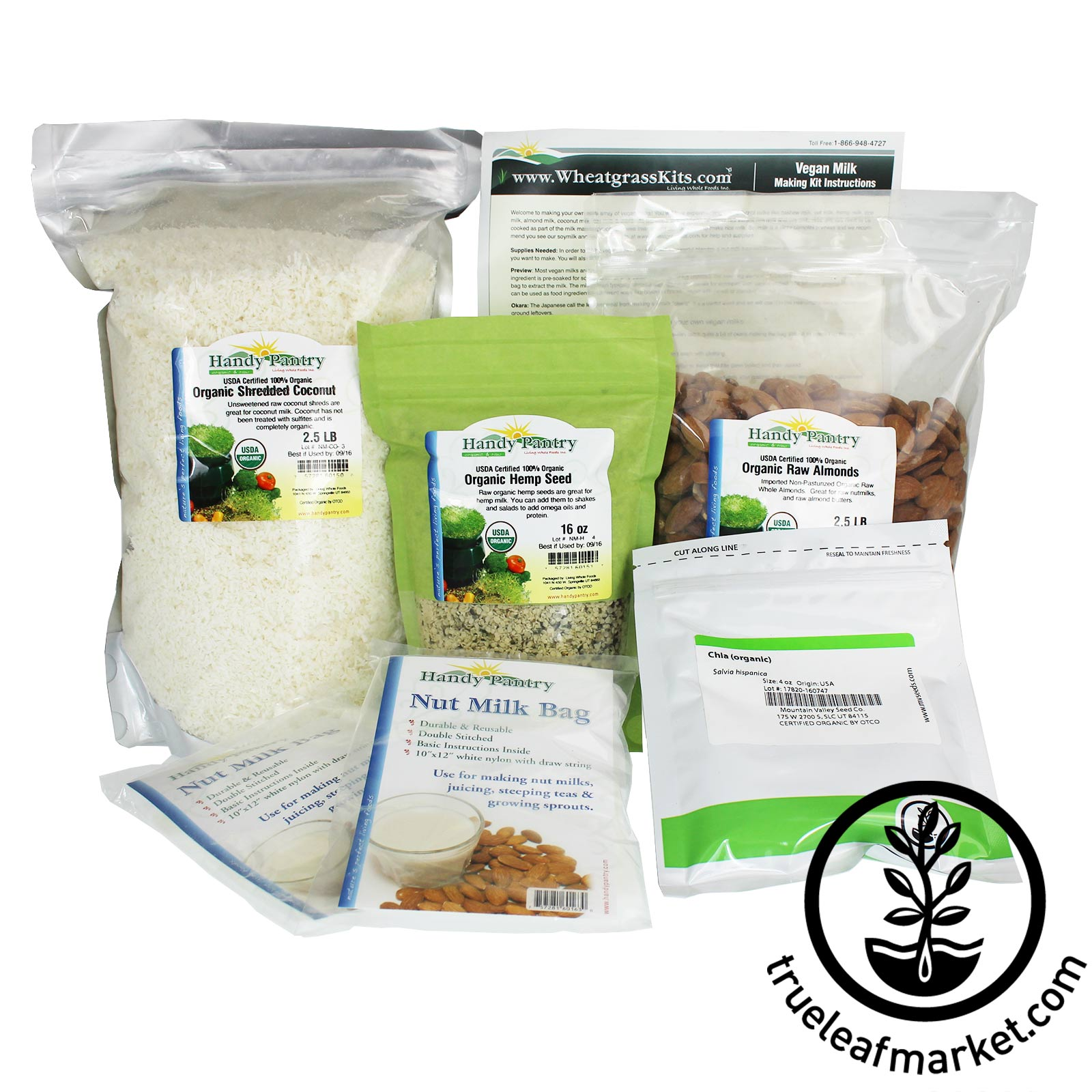 Basic Vegan Milk Kit - Organic vegan milk, nut milk, non dairy, vegan milk making, basic kit