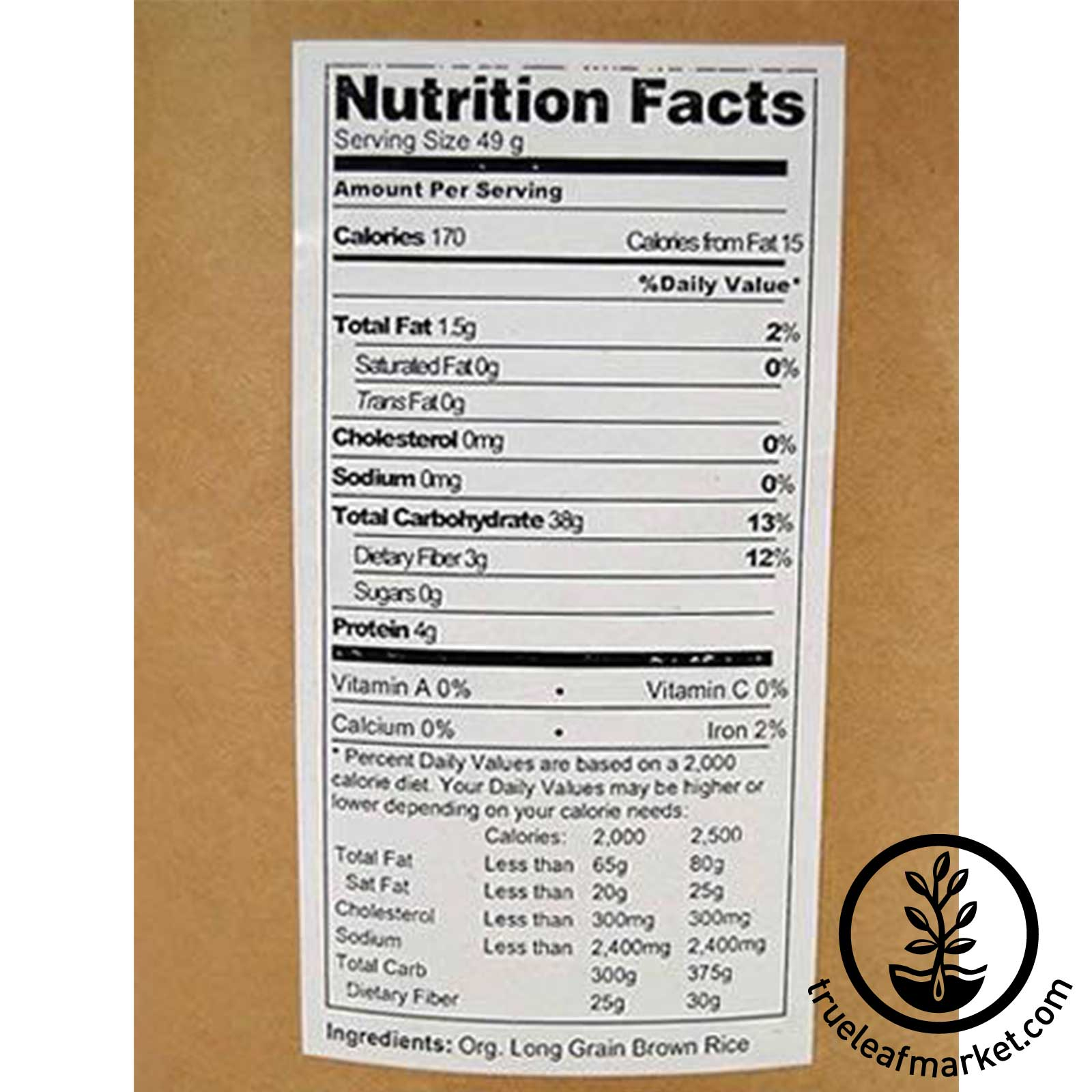 Organic Brown Rice Nutrition Facts