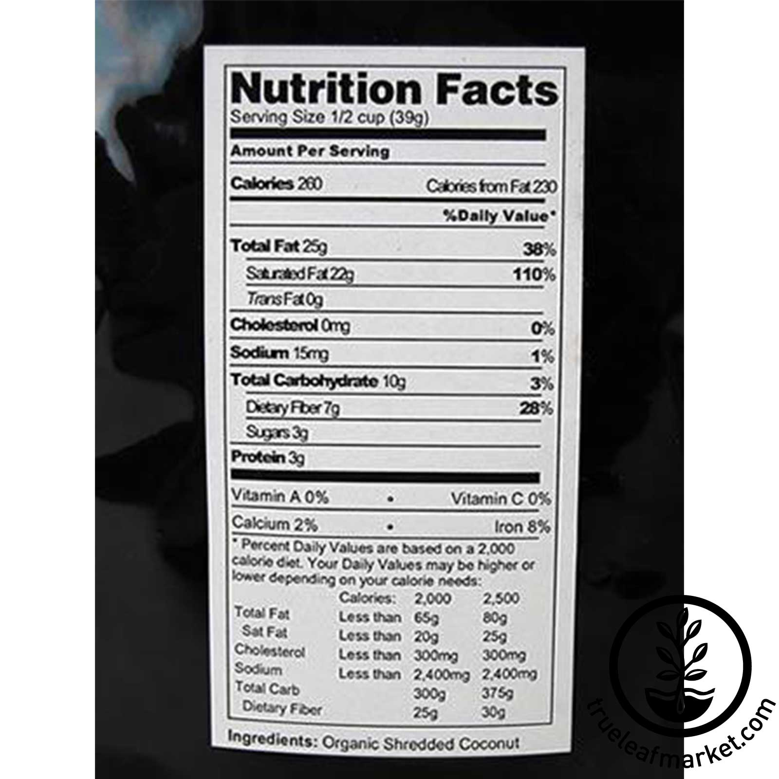 Shredded Coconut Nutrition Facts