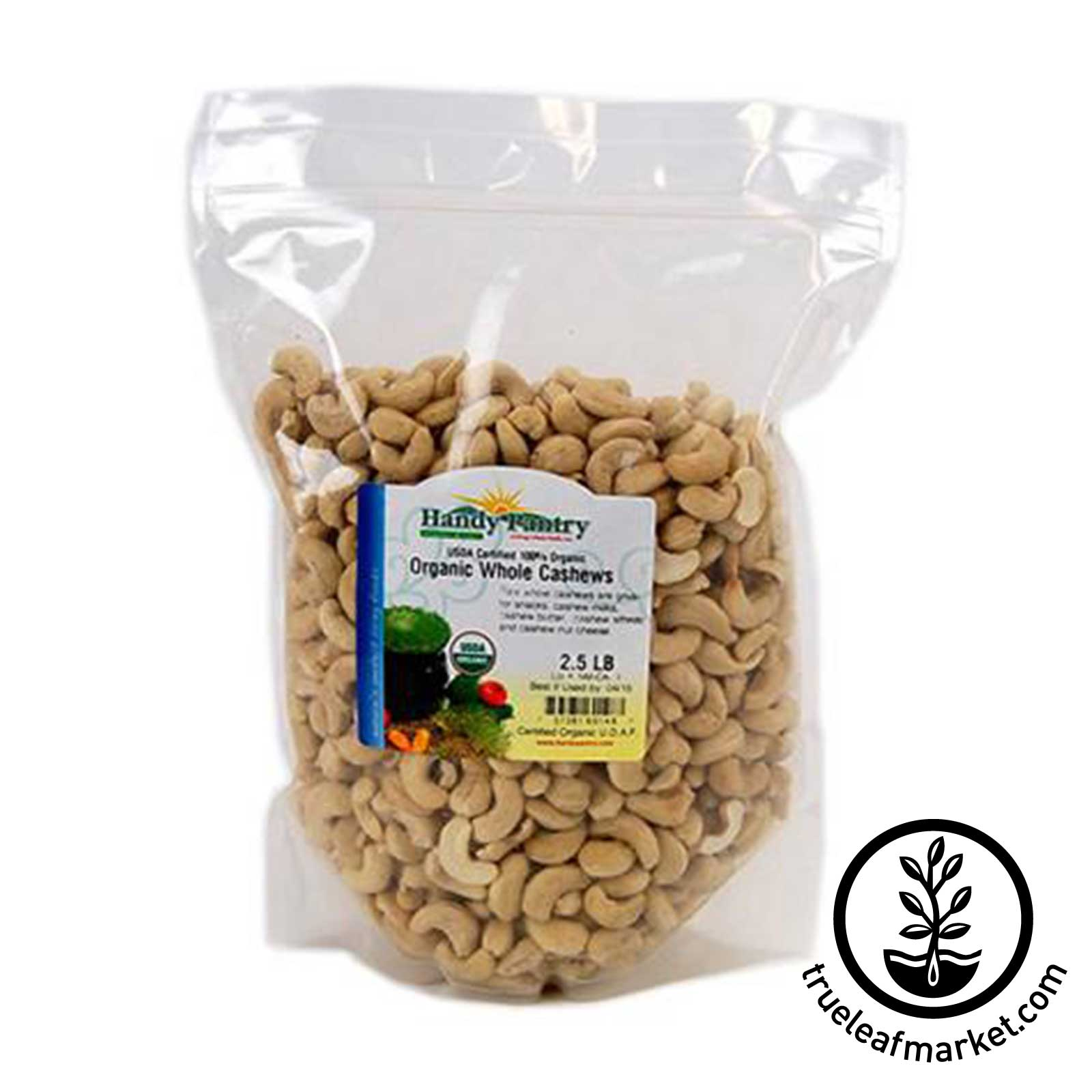 Organic Whole Cashews - 2.5 Lbs  whole cashews, organic cashews, certified organic cashews