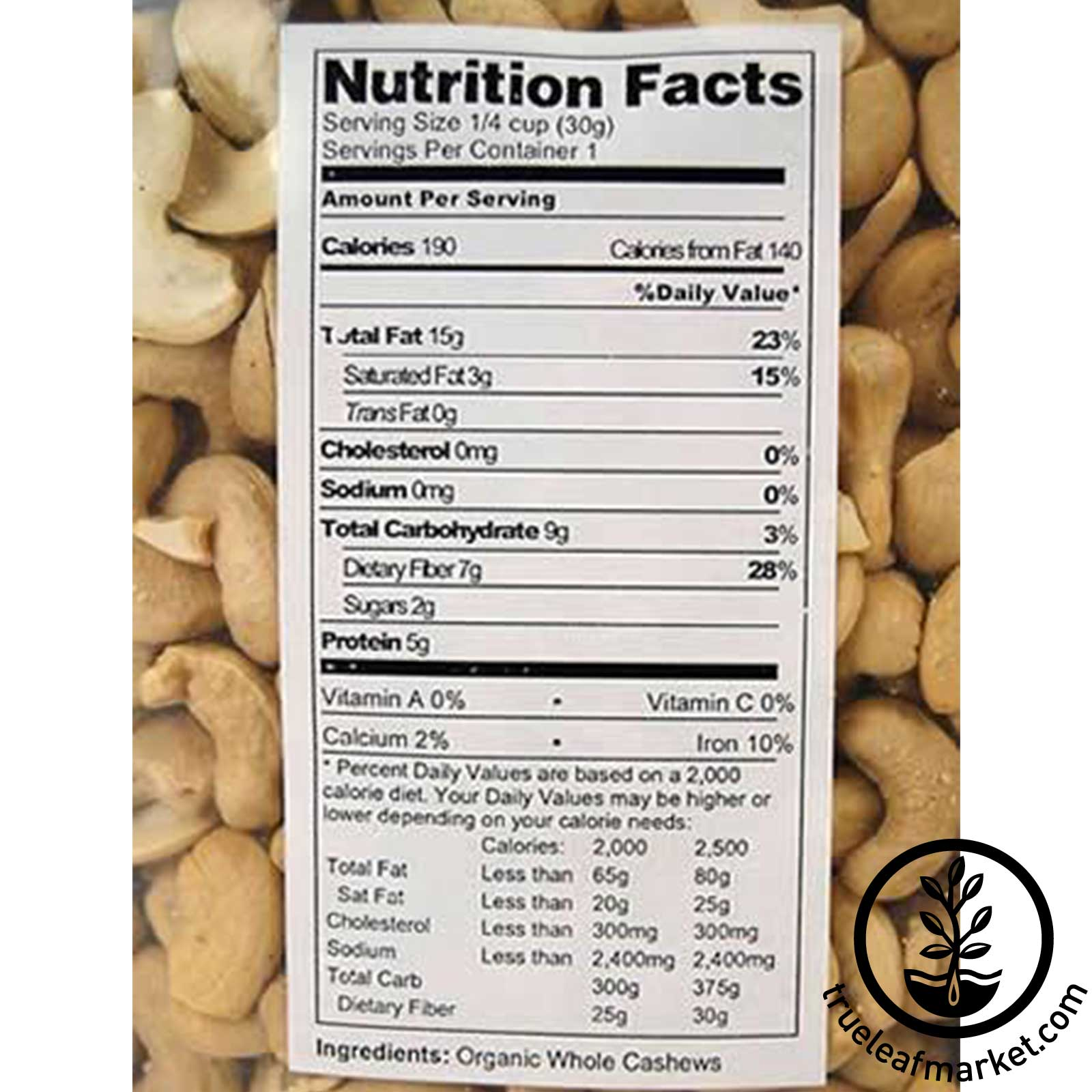 Raw Cashews Nutrition Facts