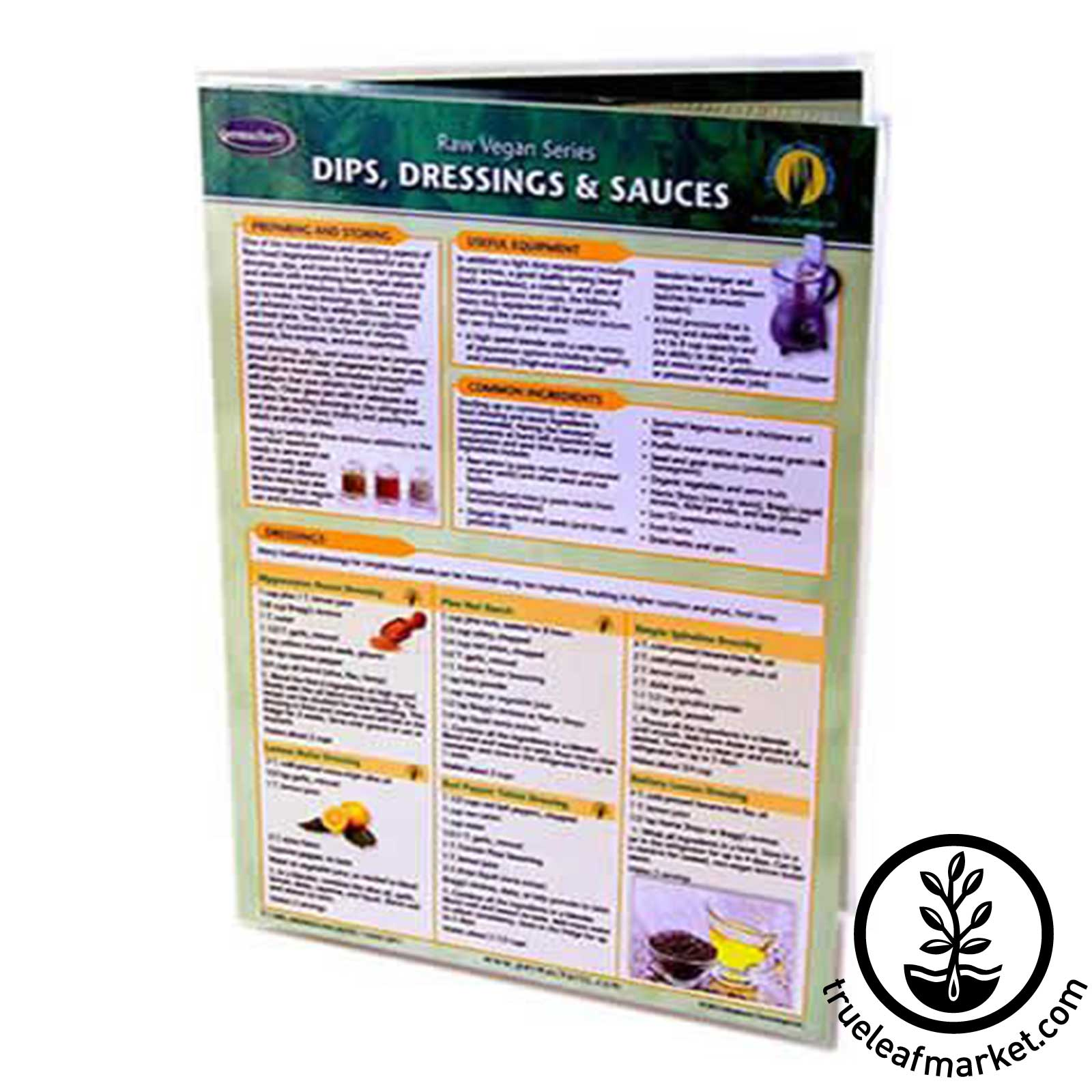 Permacharts - Raw Food Reference - Dips Dressings & Sauces dips, vegan sauces, vegan dressing