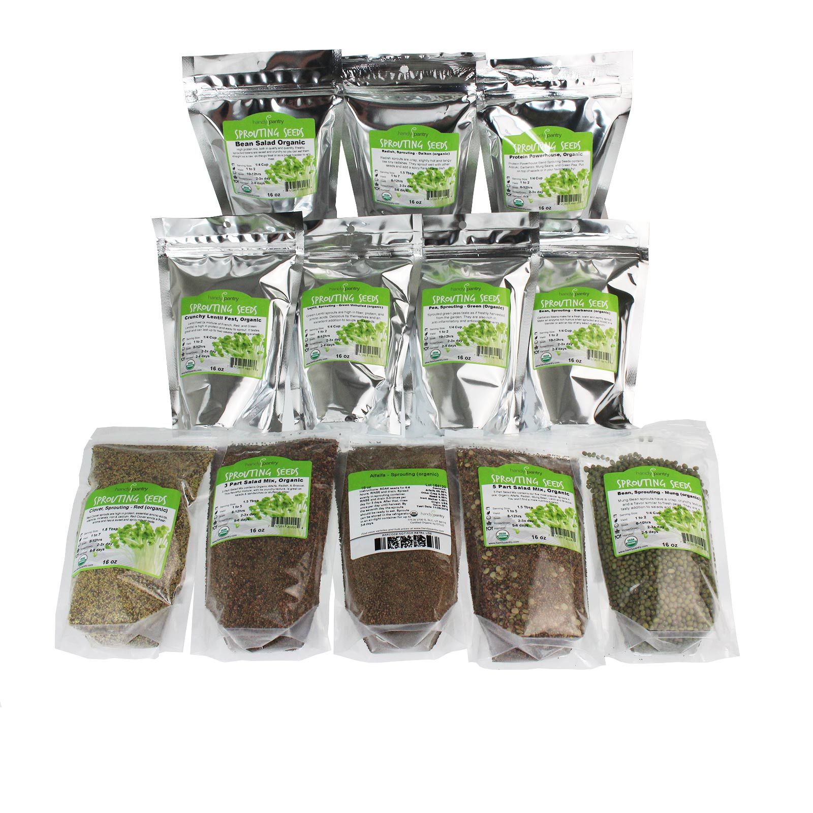 Certified Organic. This sprouting seed assortment includes: Alfalfa, Radish, Clover, Lentil, Mung, Garbanzo, Green Pea, Bean Salad Mix, Protein Powerhouse Mix, Crunchy Lentil Mix, 3 Part Salad Mix & 5 Part Salad Mix. 1 Lb. Of Each Type.