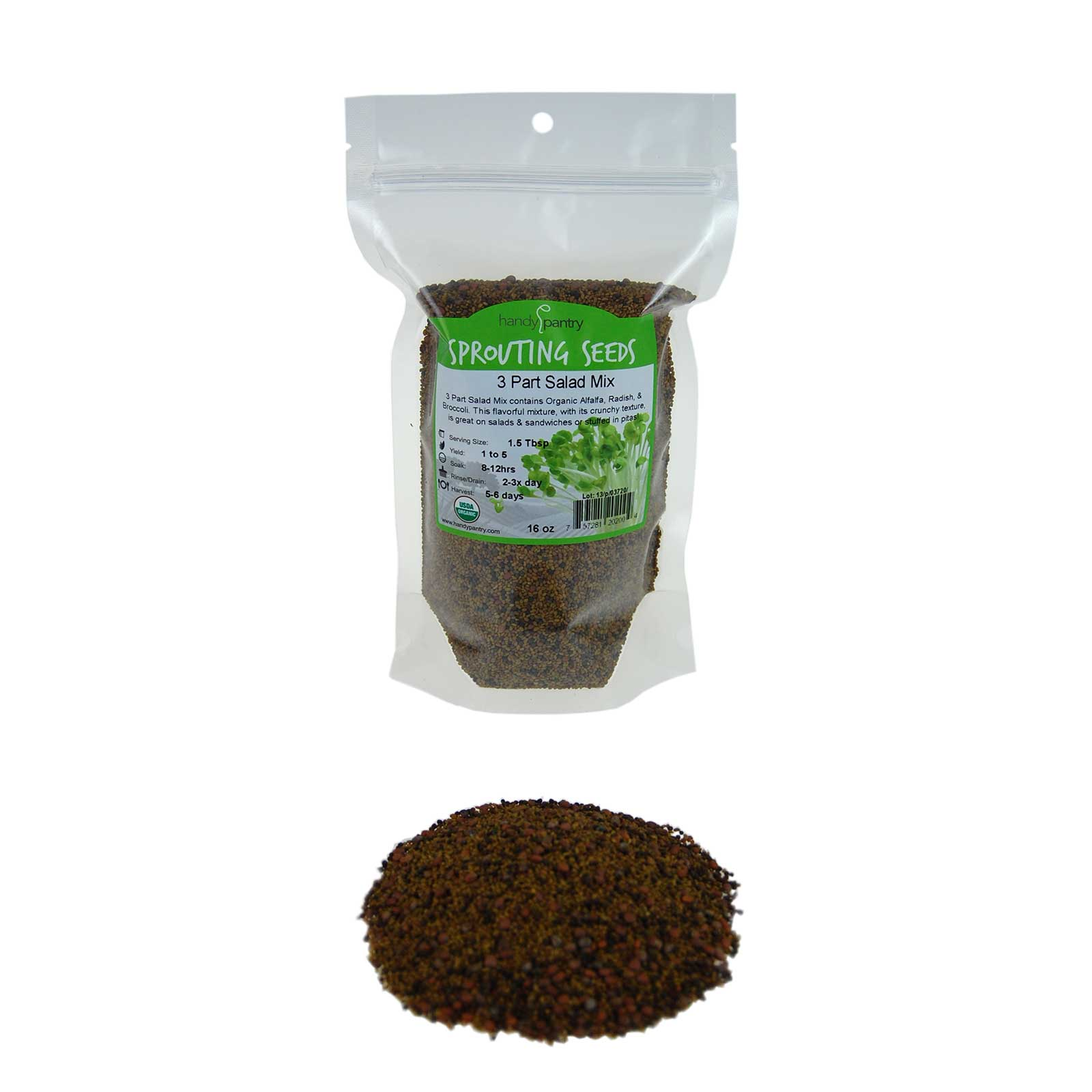 One of our most popular and delicious sprouting seed mixes. Contains broccoli, alfalfa and radish for a kick. Fast and easy to grow and oh so healthy! Fresh seeds with a fantastic germination rate. Certified Organic.