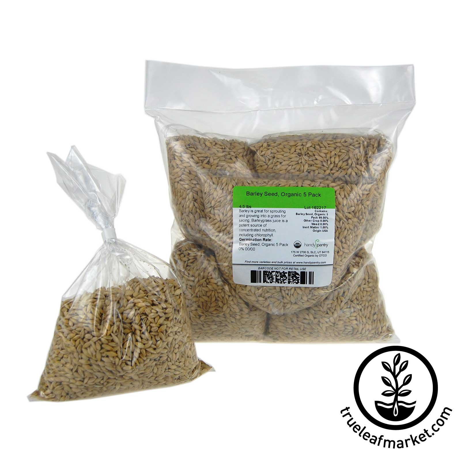 5 Pack of Pre-Measured Barley Grass Seed - For 21x11 Tray.