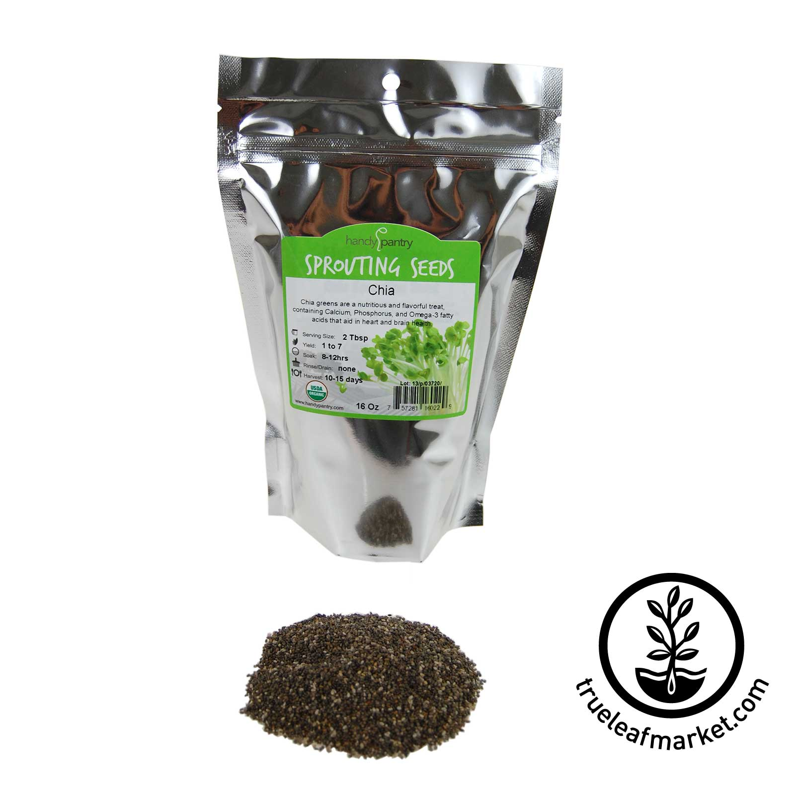 16 oz - Organic Black Chia - Resealable Bag