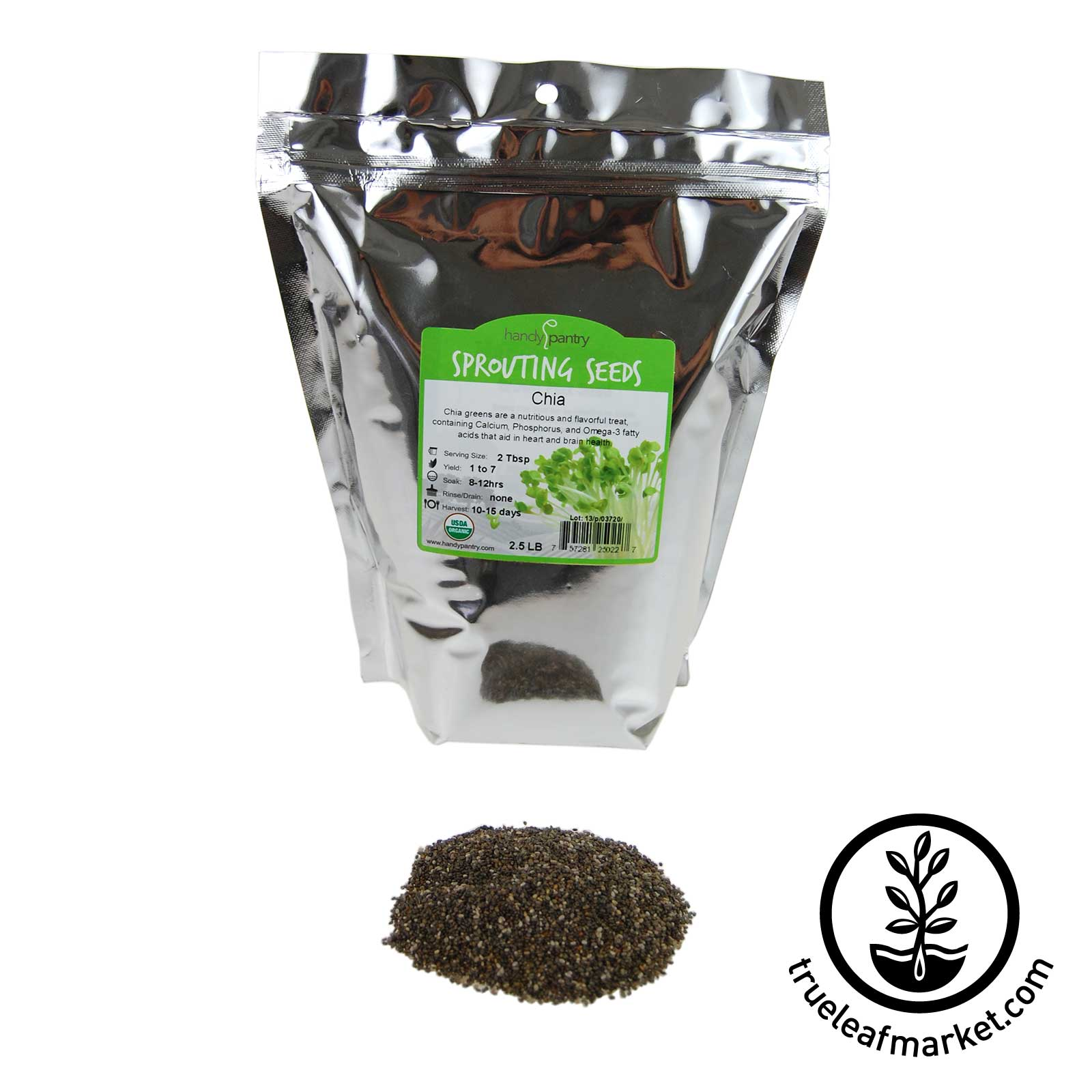 2.5 LB - Organic Black Chia - Resealable Bag