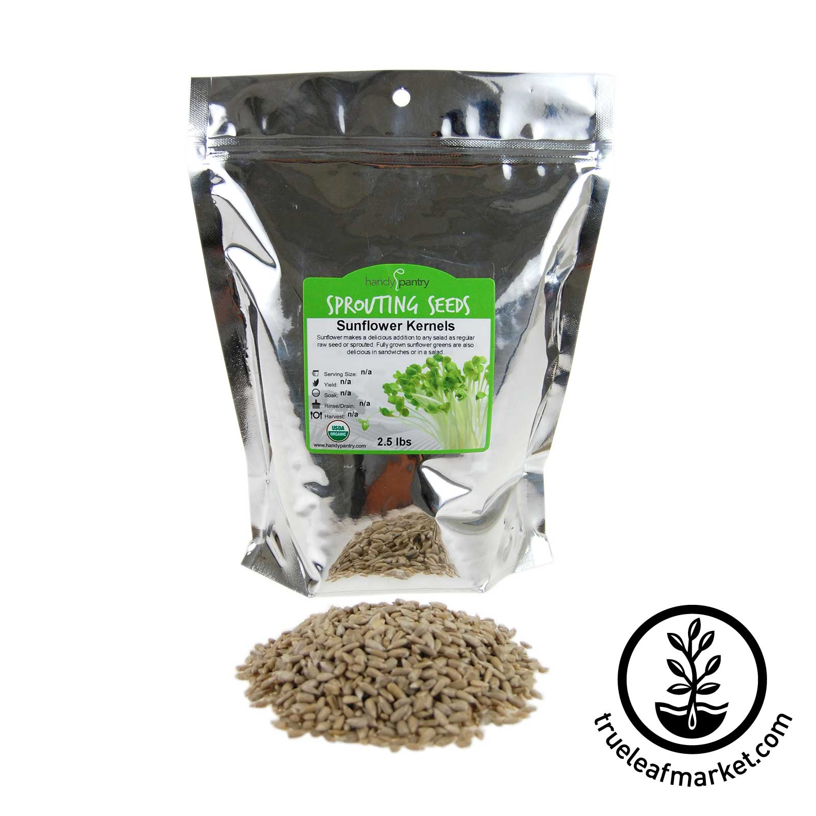 2 LB Bag - Organic Hulled Sunflower Sprouting Seeds