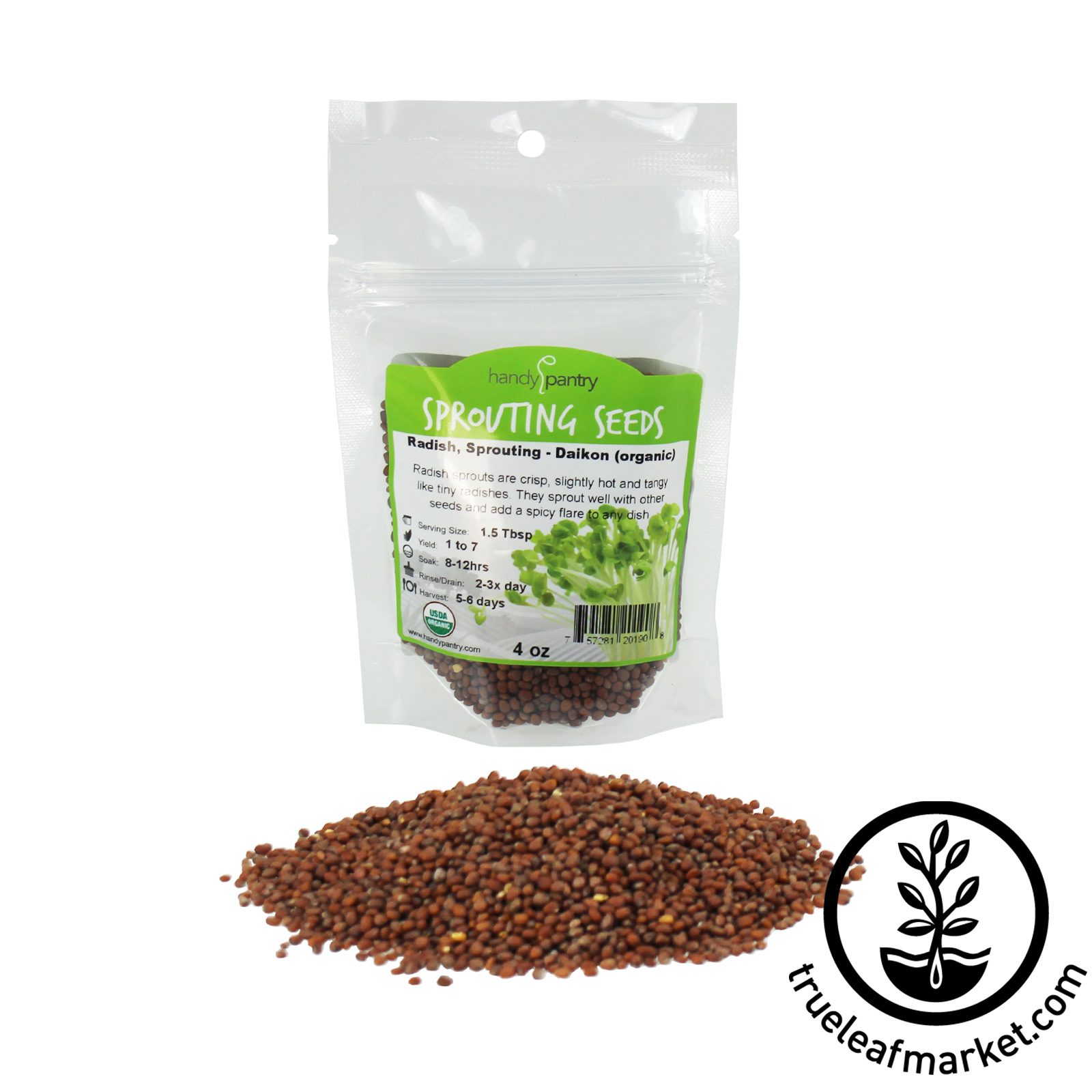 4 oz - Organic Radish Seeds for Sprouts