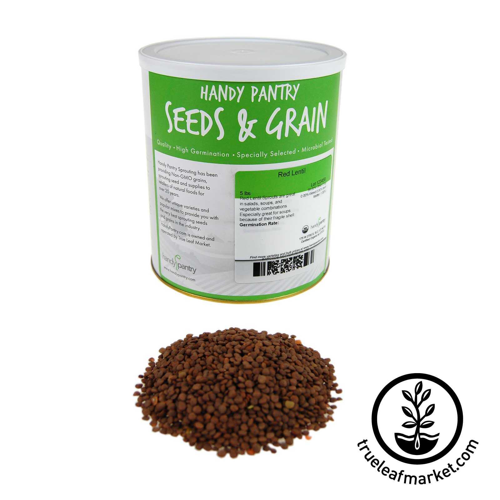 5 LB Can - Organic Red Lentil Sprouting Seed
