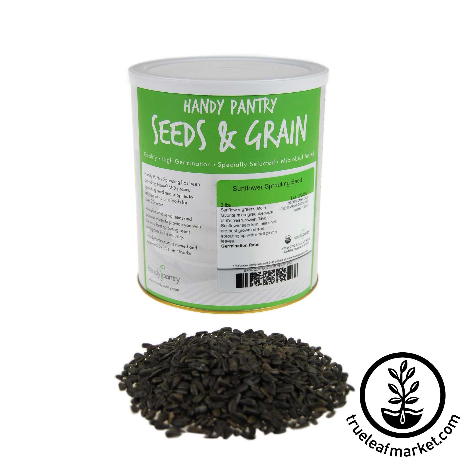 3 LB Can - Organic Sunflower, In Shell Black