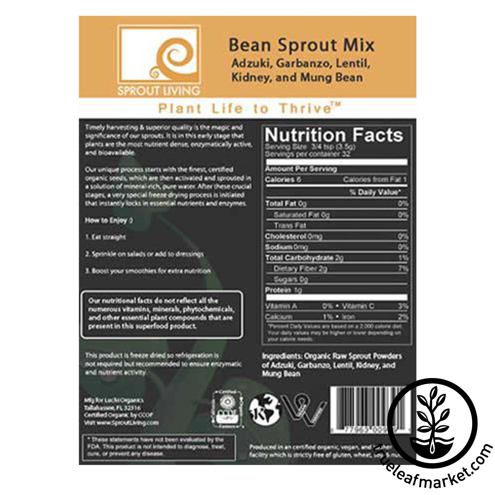 Powdered Bean Sprouts by Sprout Living - Back Label
