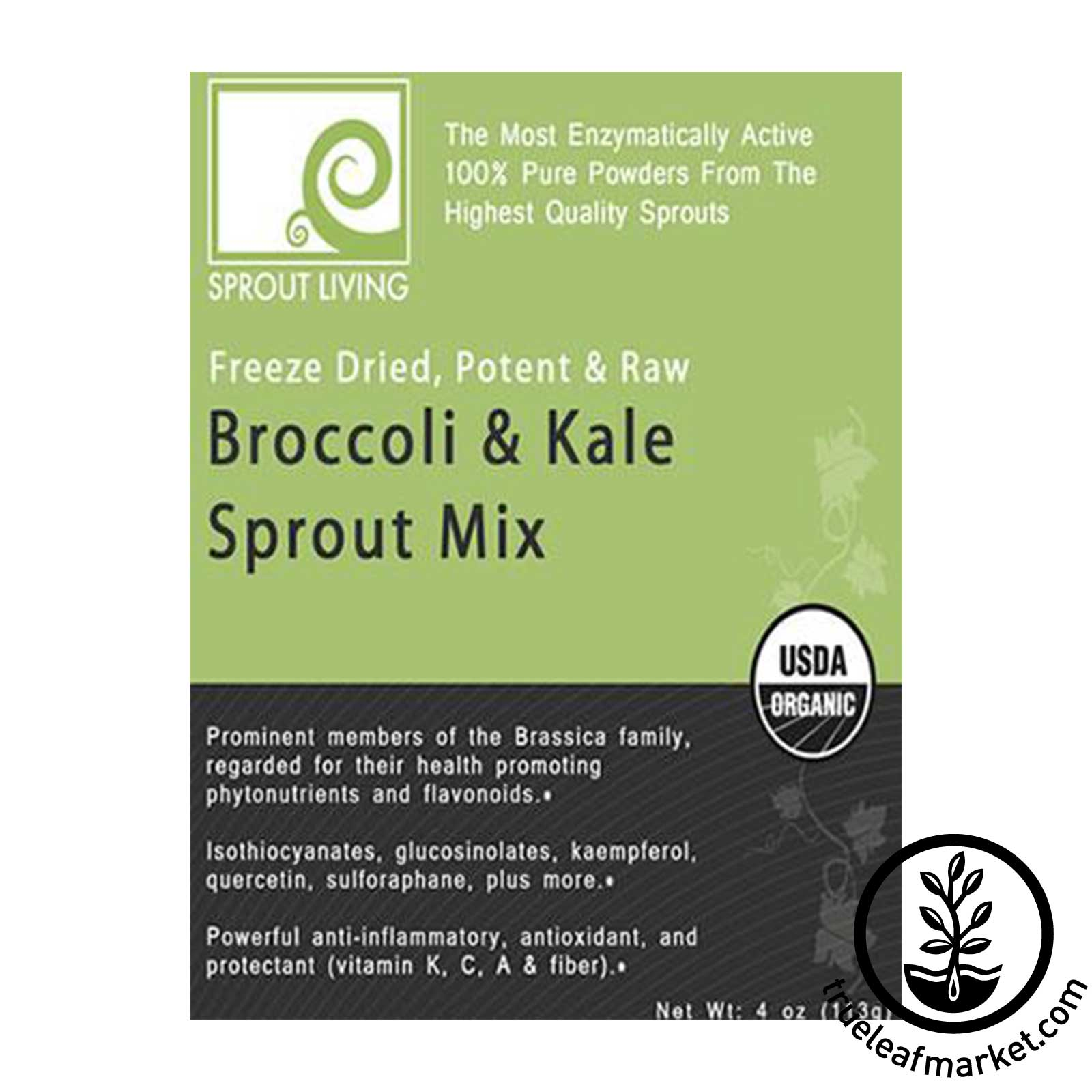 Broccoli & Kale Sprout Powder Mix by Sprout Living - Front Label