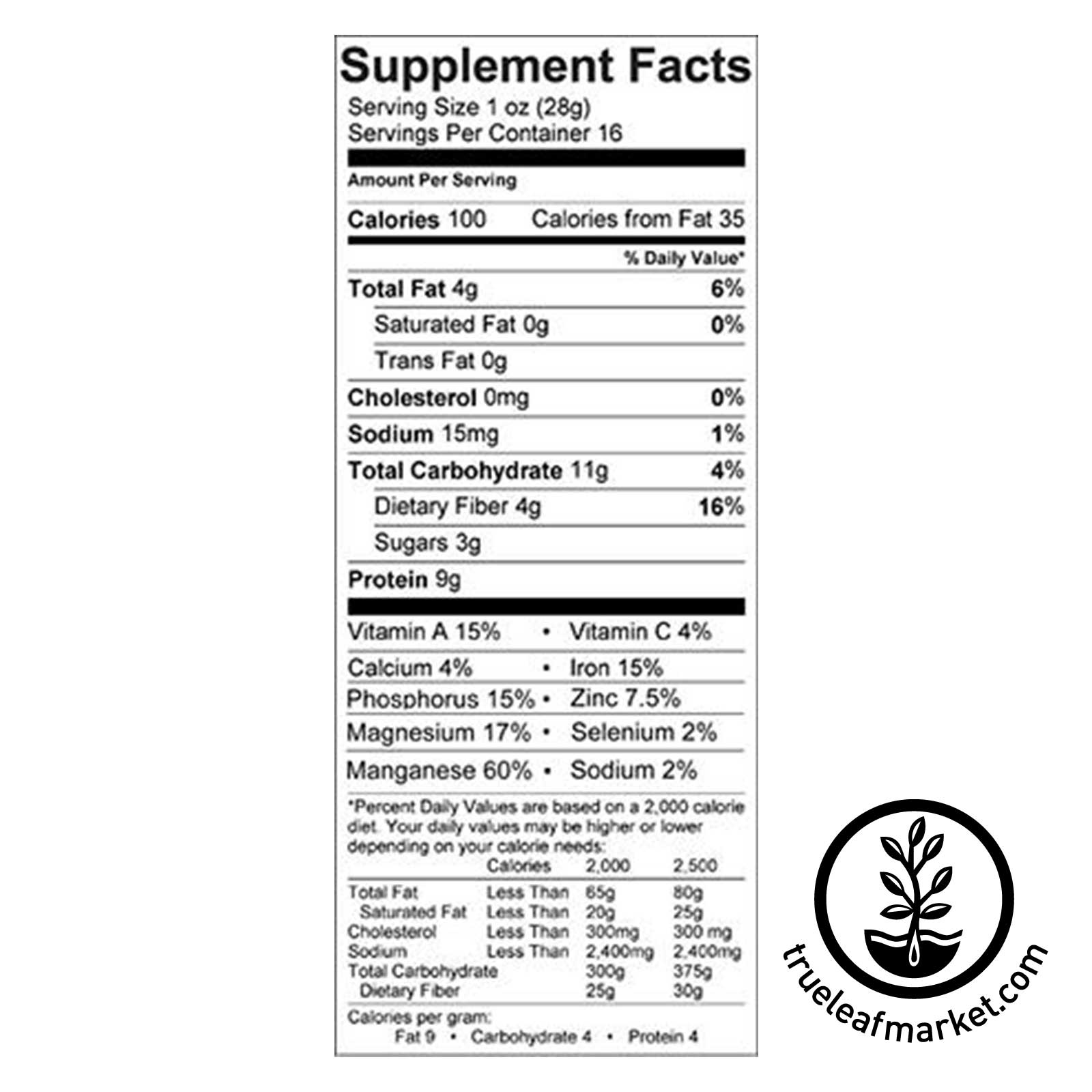 Sproutein Sprout Powder Supplemental Facts