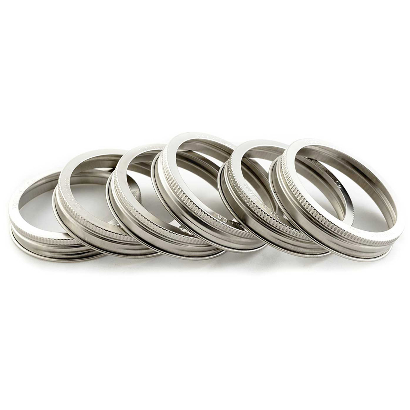 Stainless Steel Wide Mouth Mason Jar Replacement Rings / Bands - 6