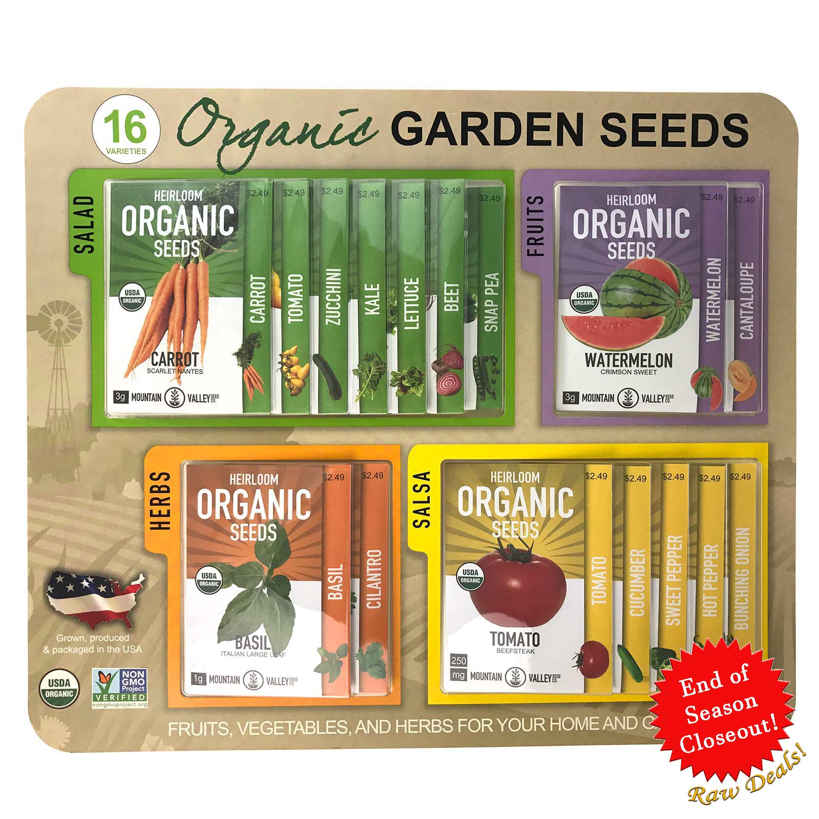 16 Variety Organic Heirloom Blister Pack