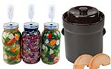 Products for the fermentation of vegetables, jars, pots